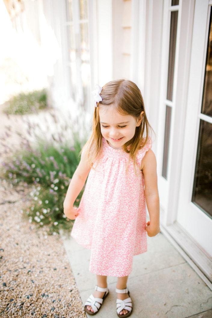 girl pink dress summer