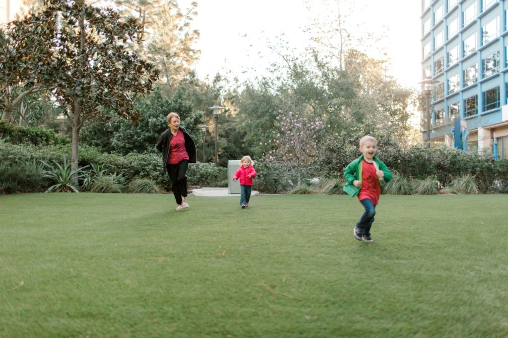 running around at disneyland